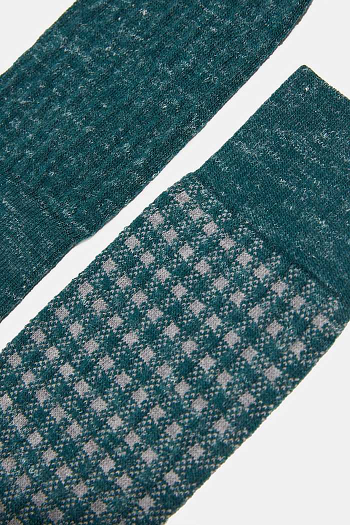 Wool blend with linen: Double pack of socks, DARK GREEN, detail image number 2