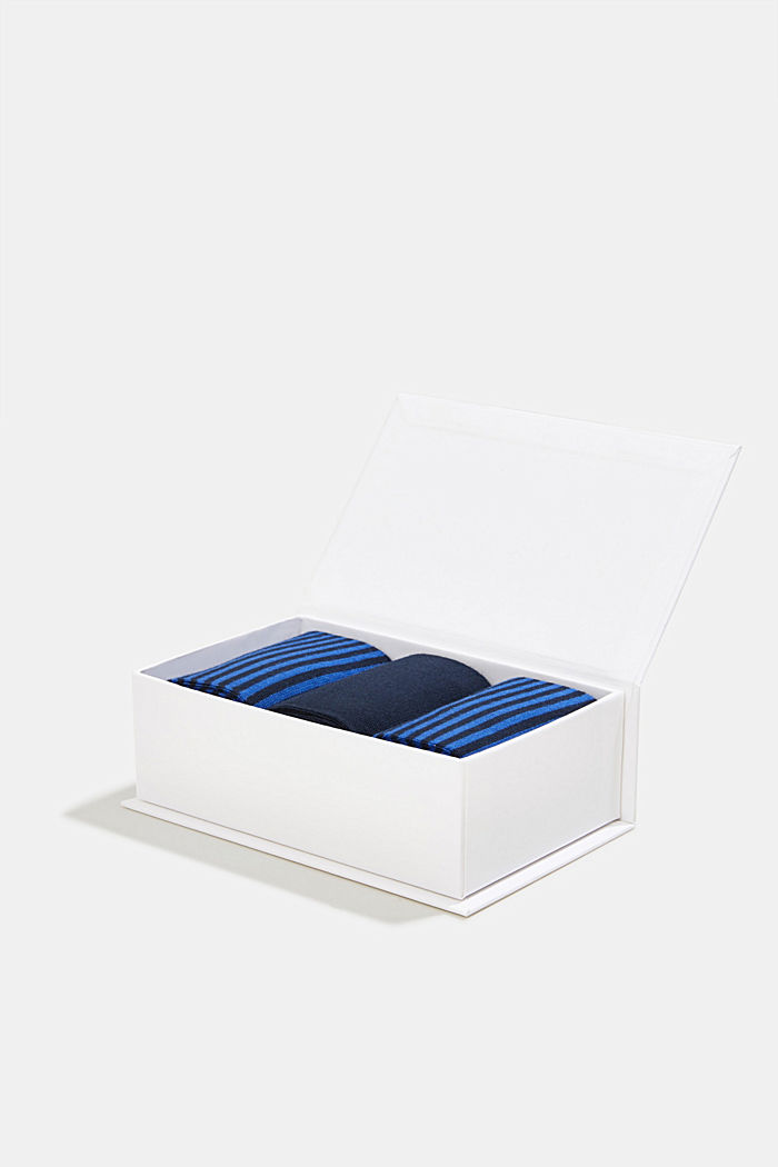 Gift box containing a triple pack of socks, MARINE, detail image number 3