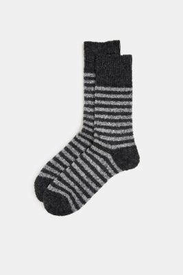 Chunky blended cotton socks, BLACK, detail