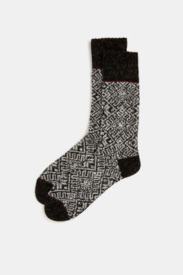 Knit-pattern socks, BLACK, detail