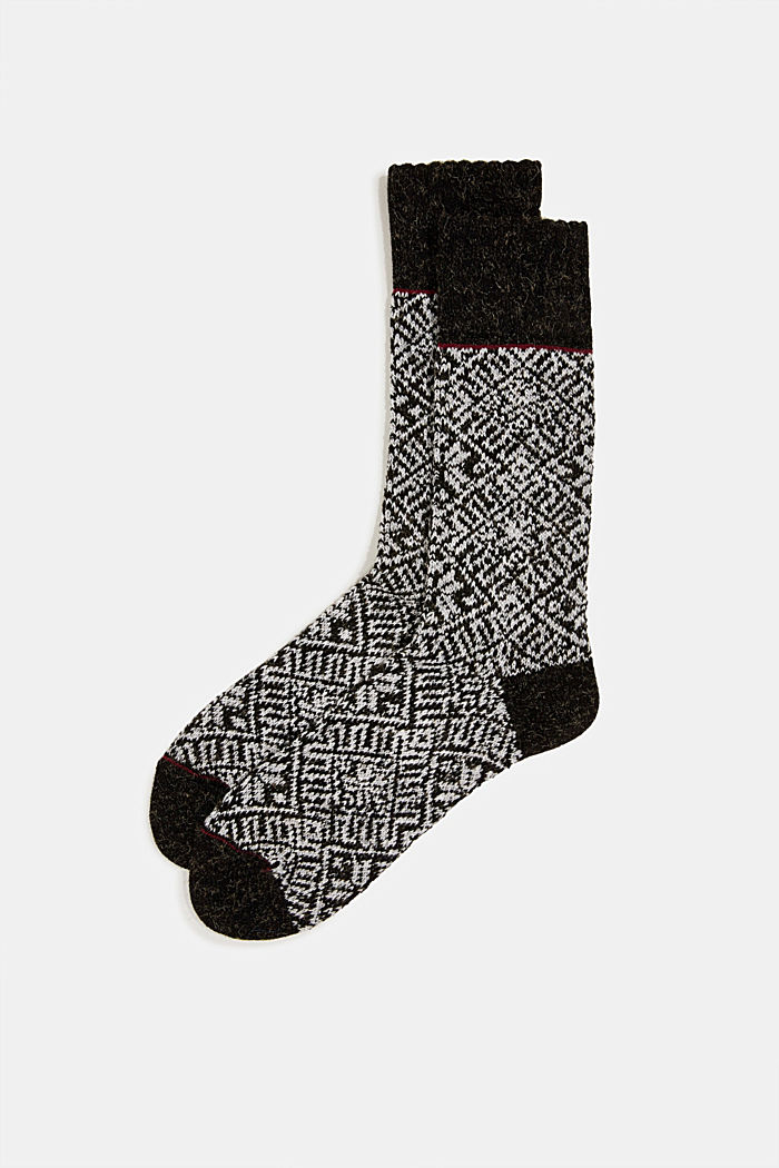 Knit-pattern socks, BLACK, detail image number 0