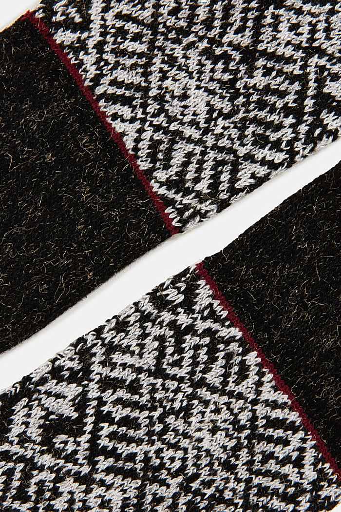 Knit-pattern socks, BLACK, detail image number 1
