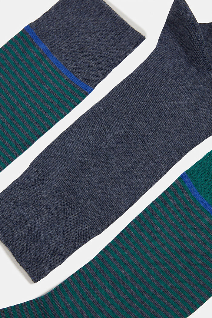 3-pair pack of blended cotton socks, NAVY MELANGE, detail image number 2