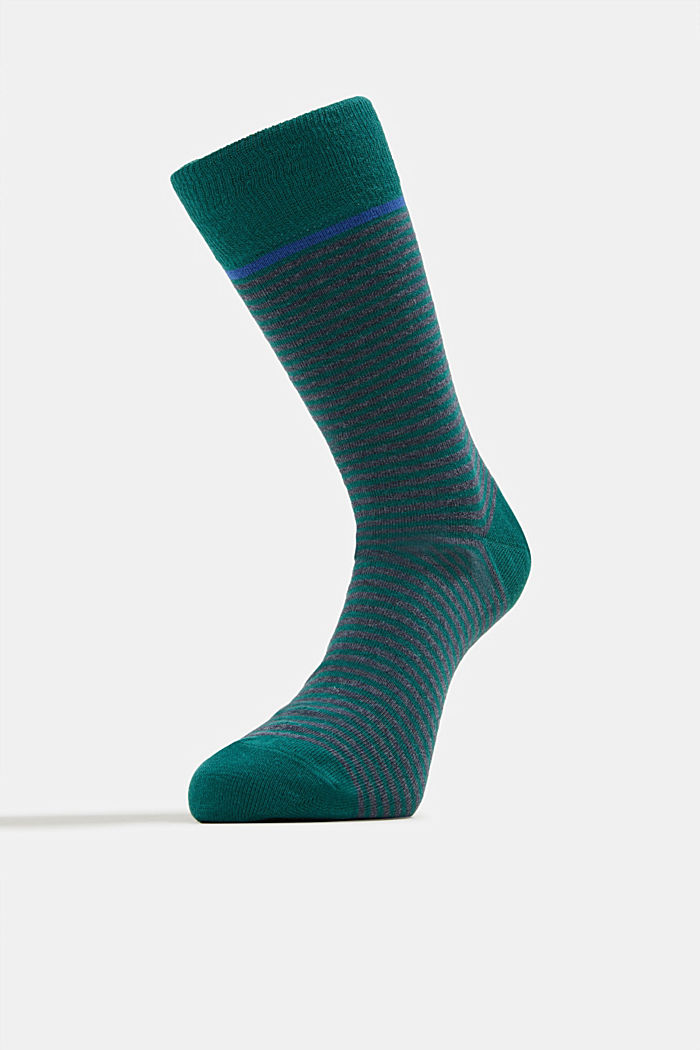 3-pair pack of blended cotton socks, NAVY MELANGE, detail image number 1