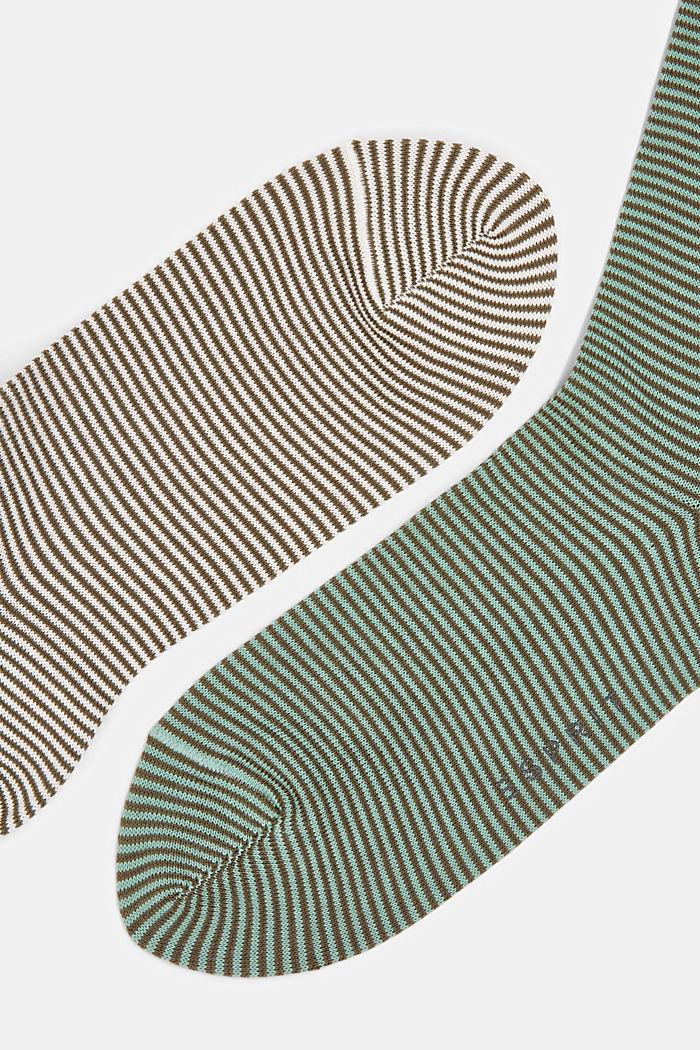 2er-Pack Ringel-Socken aus Baumwoll-Mix, GREEN, detail image number 1