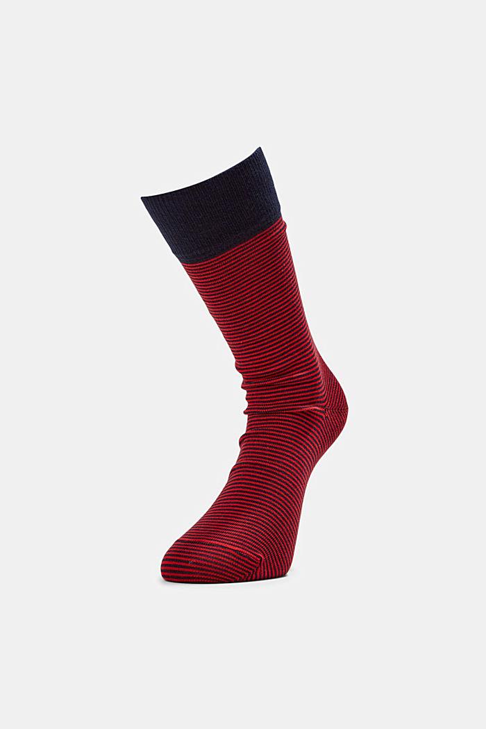 Pack de dos pares de calcetines a rayas en mezcla de algodón, RED, detail image number 0