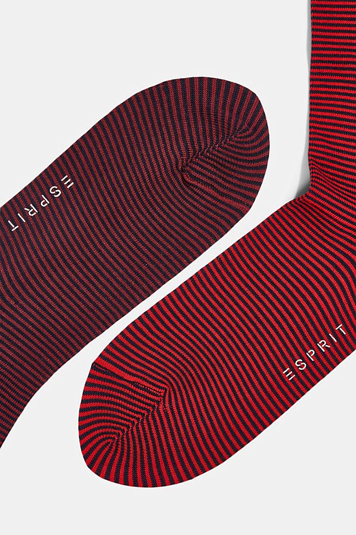 Pack de dos pares de calcetines a rayas en mezcla de algodón, RED, detail image number 1
