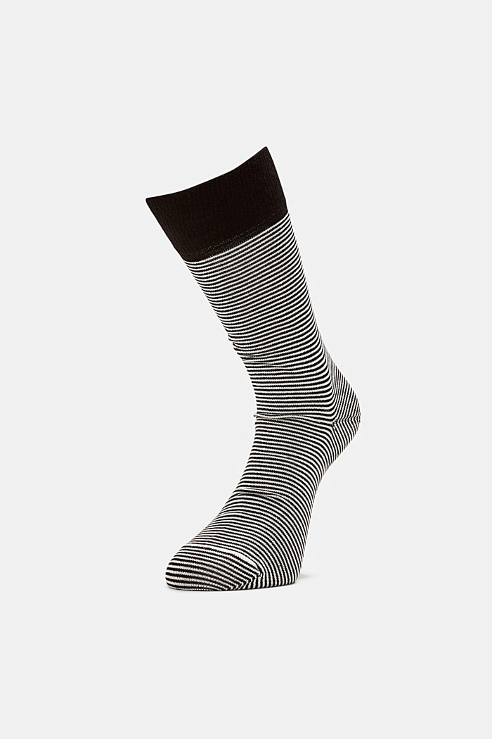 2er-Pack Ringel-Socken aus Baumwoll-Mix, BLACK, detail image number 0