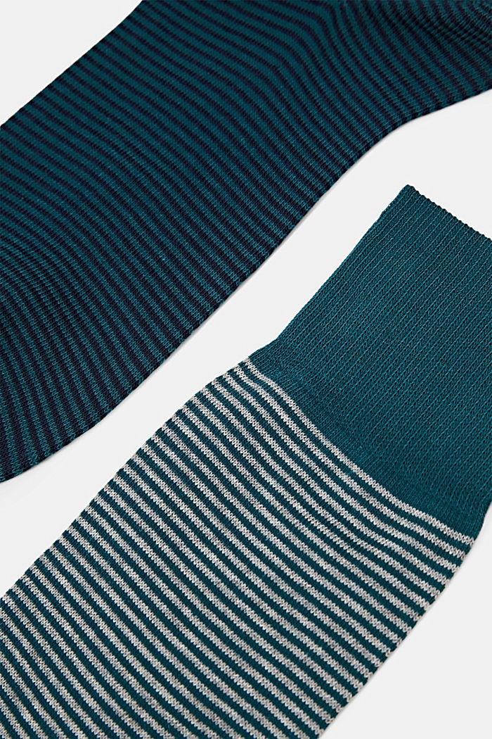 Lot de 2paires de chaussettes à rayures horizontales en coton mélangé, TEAL GREEN, detail image number 1
