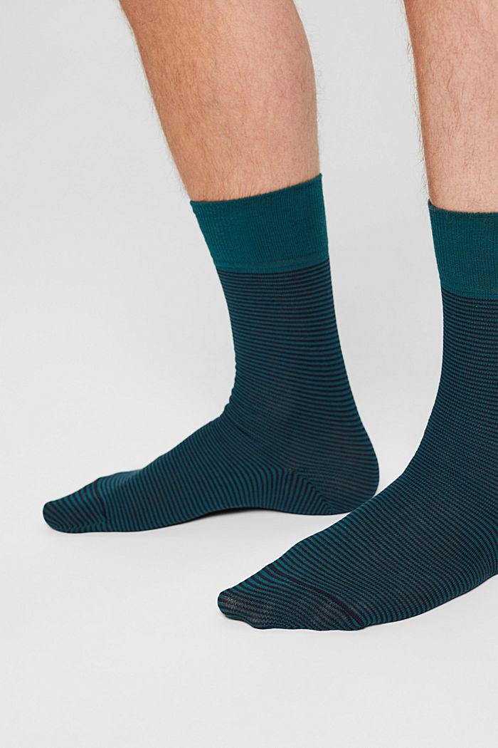 Lot de 2paires de chaussettes à rayures horizontales en coton mélangé, TEAL GREEN, detail image number 2