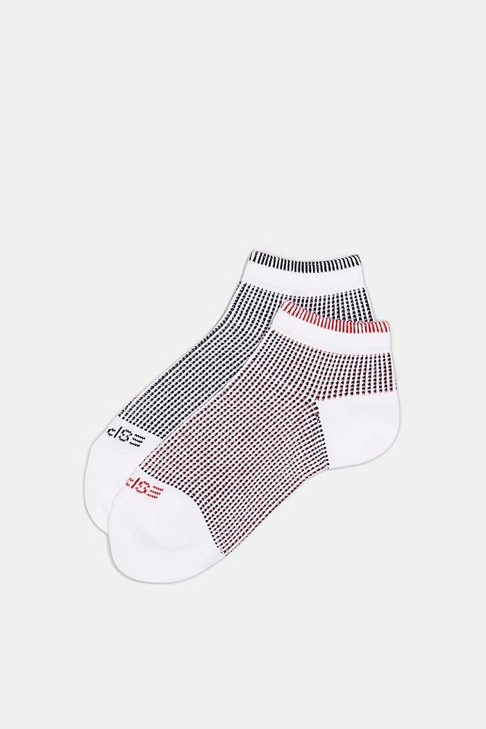 2er-Pack Sneaker-Socken in Piqué-Optik, WHITE, detail image number 2