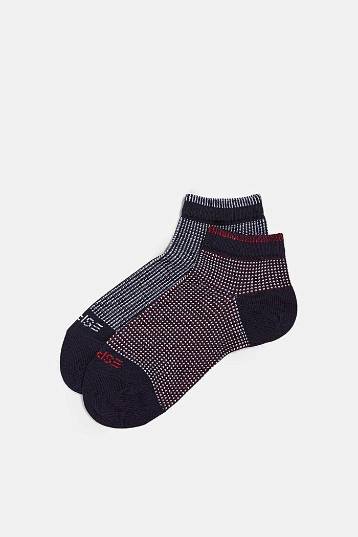 2er-Pack Sneaker-Socken in Piqué-Optik, MARINE, detail image number 2