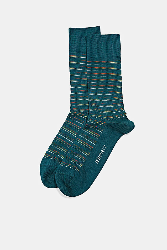 Lot de 2paires de chaussettes en coton bio mélangé, PETROL, detail image number 0