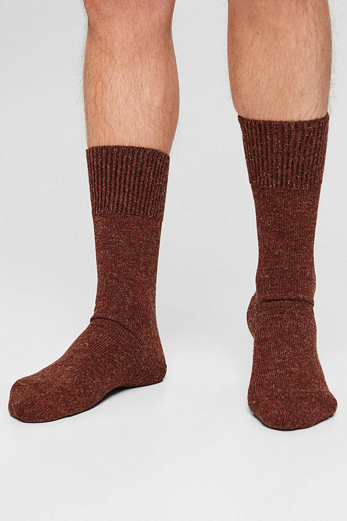 Melierte Socken aus Baumwoll-Mix, HENNA, detail image number 2