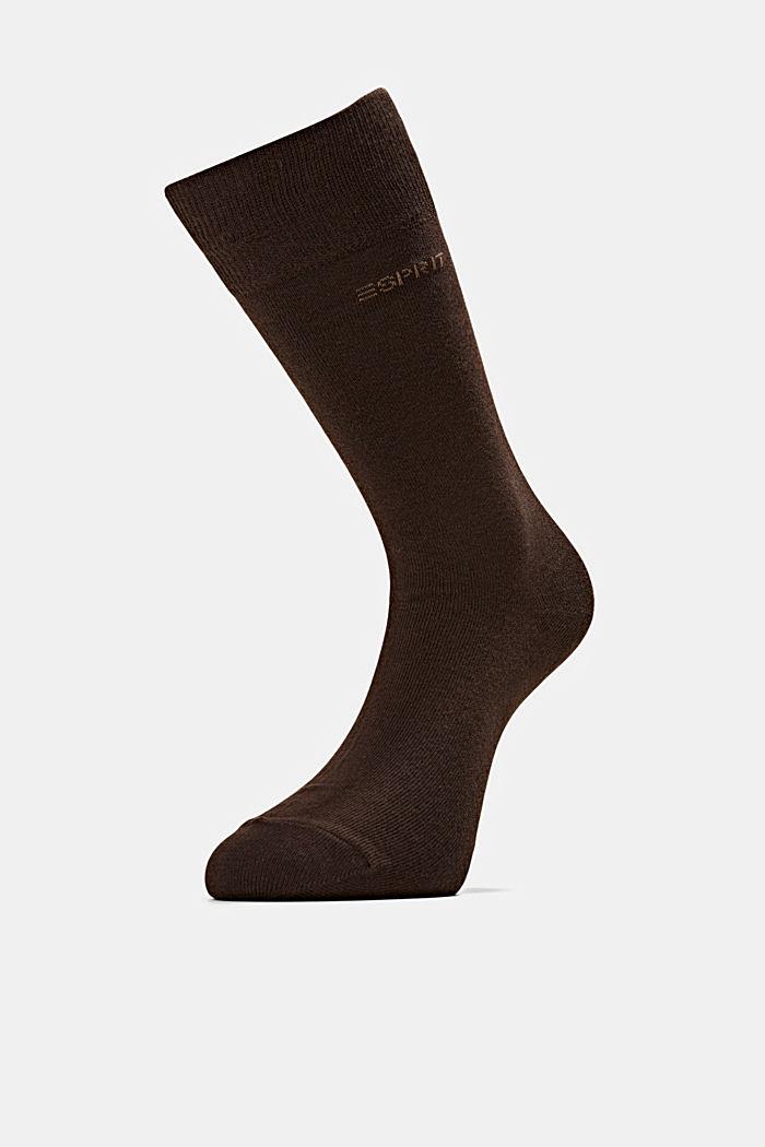 2er-Pack Basic Socken aus Baumwollmix, DARK BROWN, detail image number 2