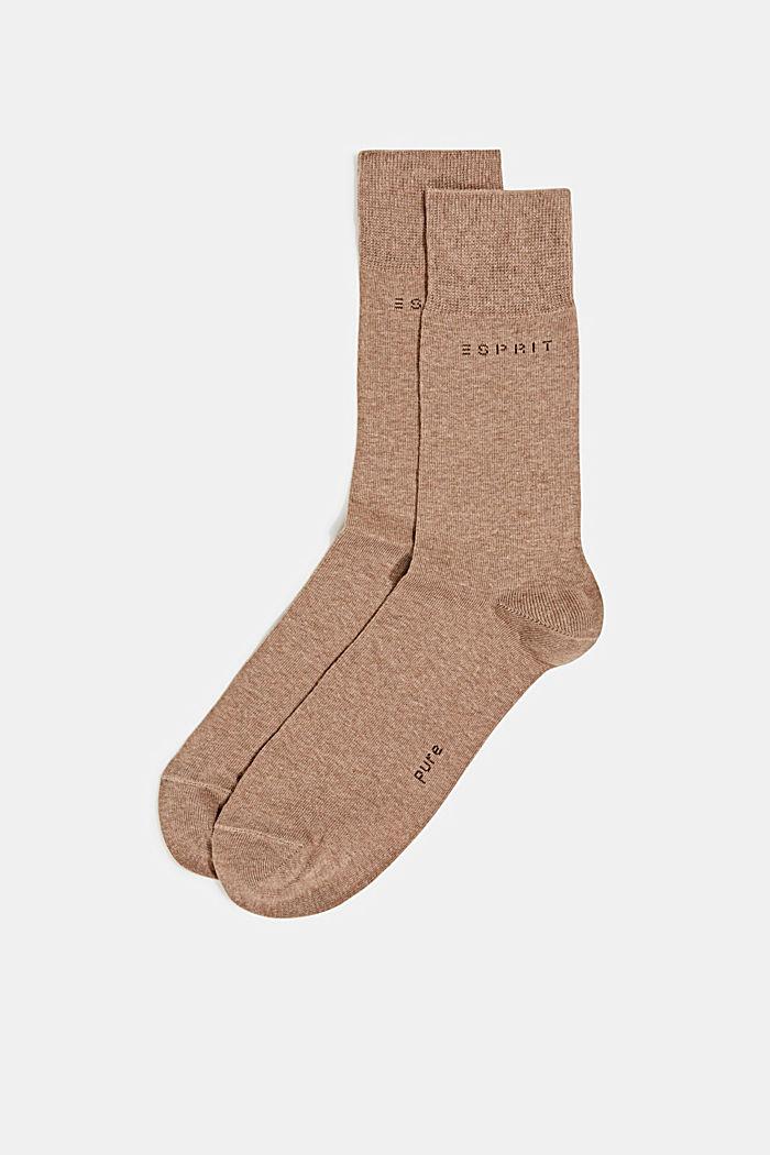Double pack of blended cotton socks, NUTMEG MELANGE, detail image number 0