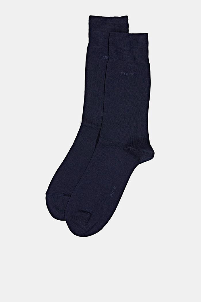 2er-Pack Basic Socken aus Baumwollmix, MARINE, detail image number 2