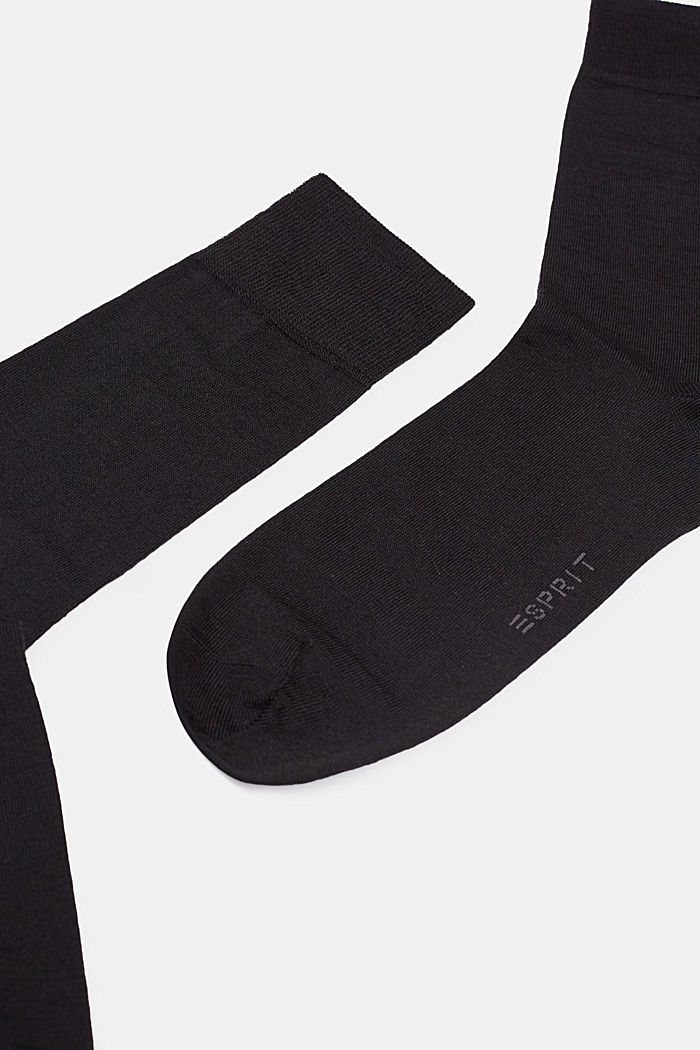 Double pack of fine knit socks with new wool, BLACK, detail image number 1