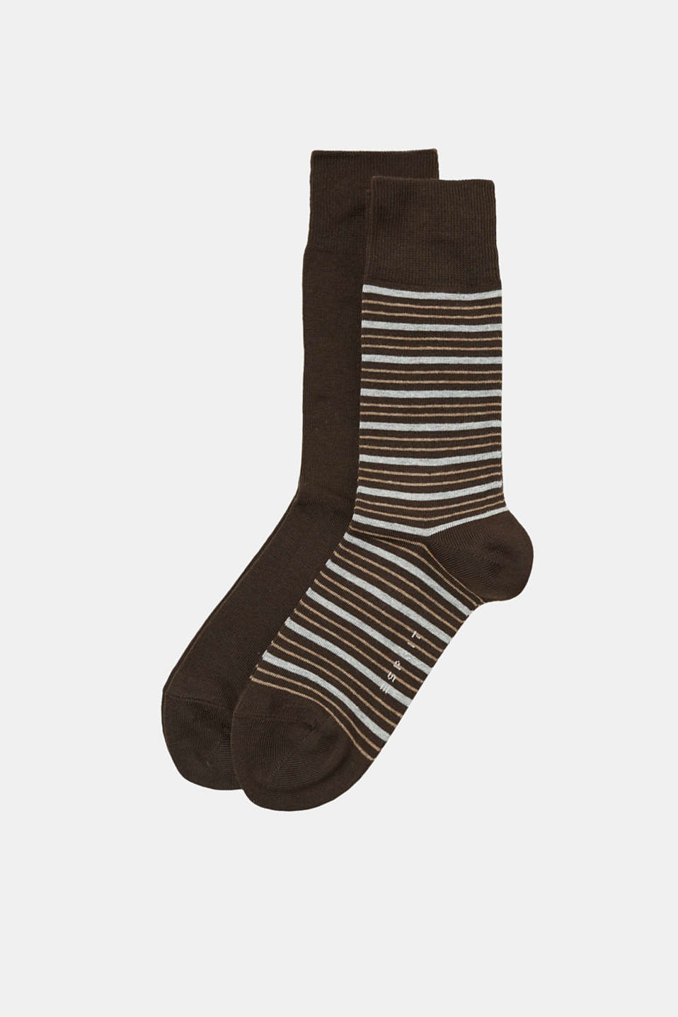 Plain and striped socks with extra wide comfort cuffs, blended cotton