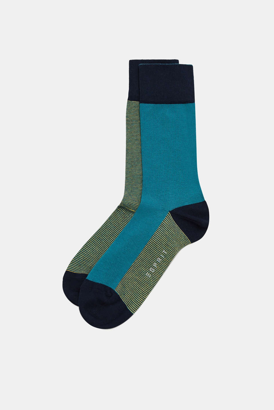 Esprit - Double pack of socks with stripes, made of blended cotton