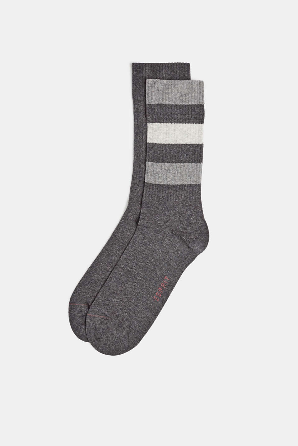 Double pack of blended cotton socks, ANTHRACITE MELANGE, detail image number 0