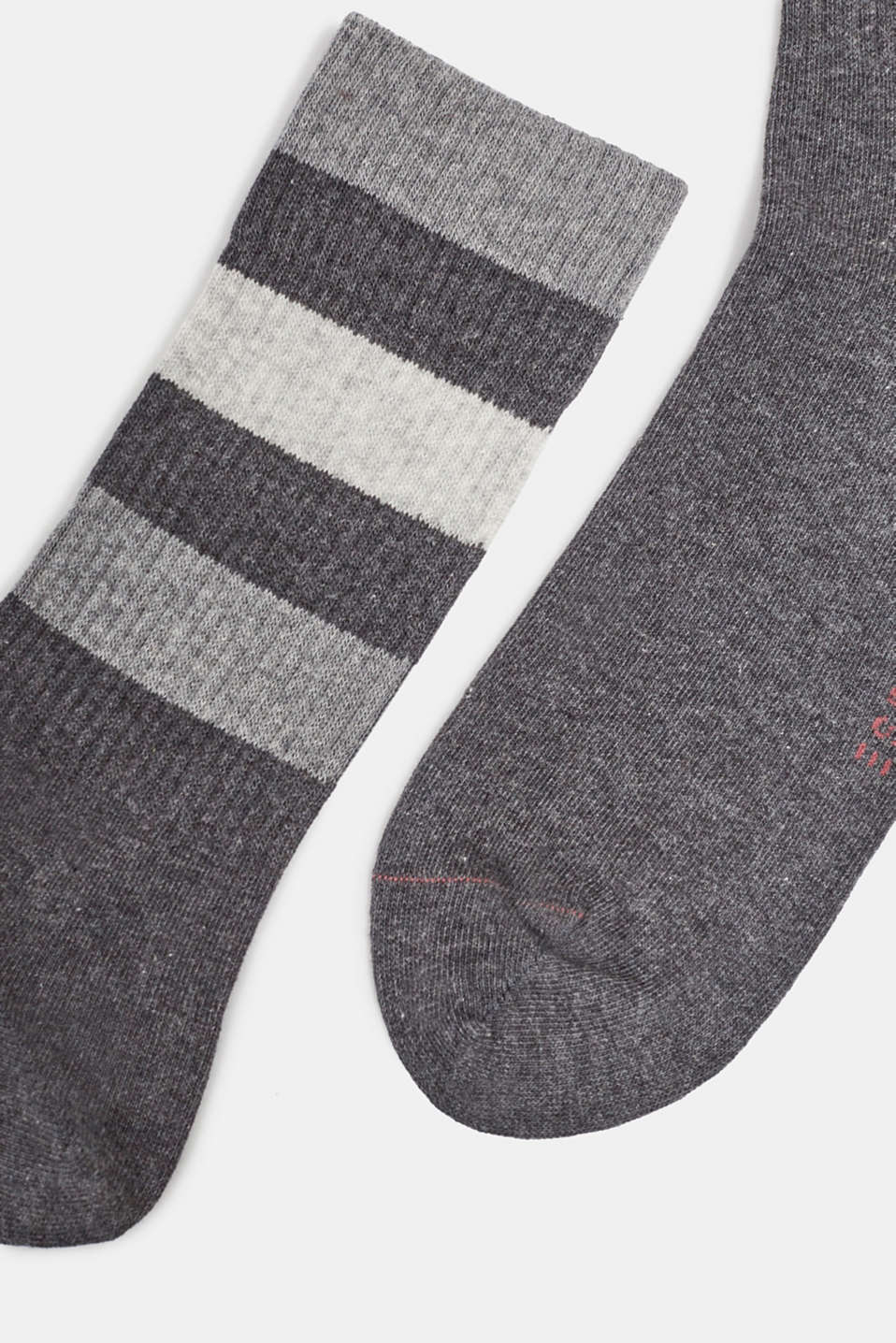 Double pack of blended cotton socks, ANTHRACITE MELANGE, detail image number 1