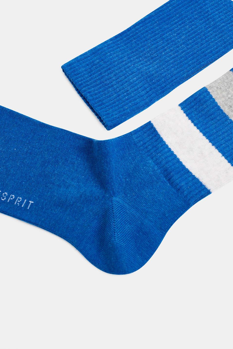 Double pack of blended cotton socks, CORNFLOWER BL, detail image number 1