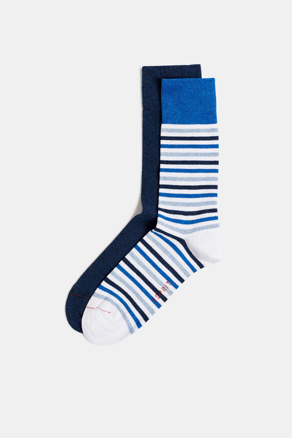 Double pack of socks with stripes, WHITE, detail image number 0