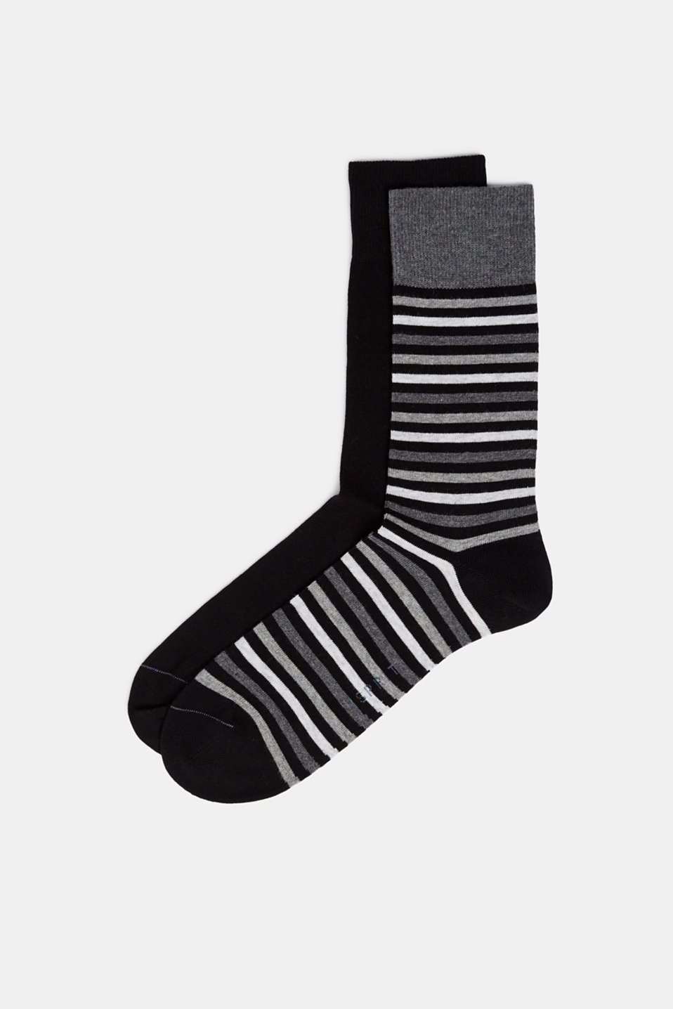 Double pack of socks with stripes, BLACK, detail image number 0