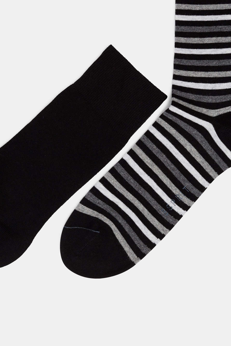 Double pack of socks with stripes, BLACK, detail image number 1