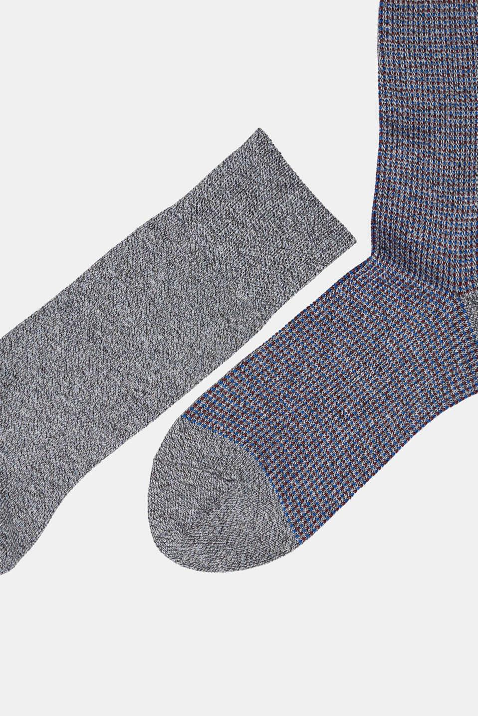 Double pack of blended cotton socks, FLINT GREY, detail image number 1