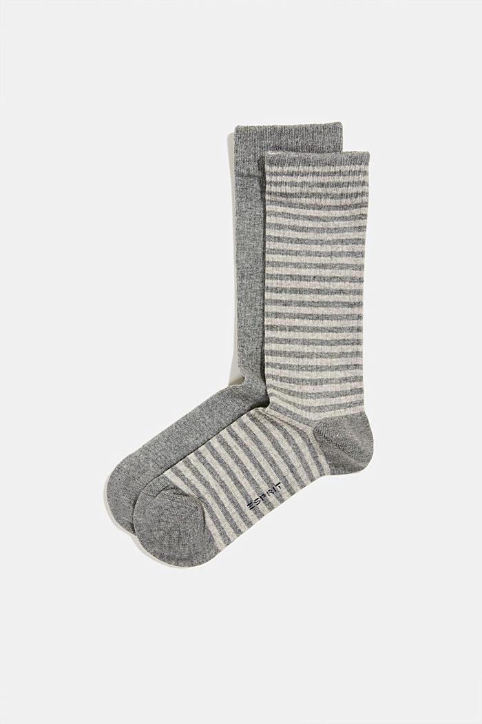 Double pack of blended cotton socks, LIGHT GREY MELANGE, detail image number 0