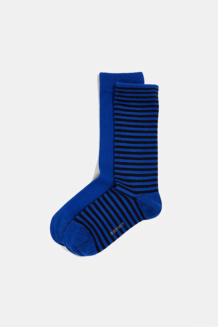 2er Pack Socken aus Baumwoll-Mix, DEEP BLUE, detail image number 0