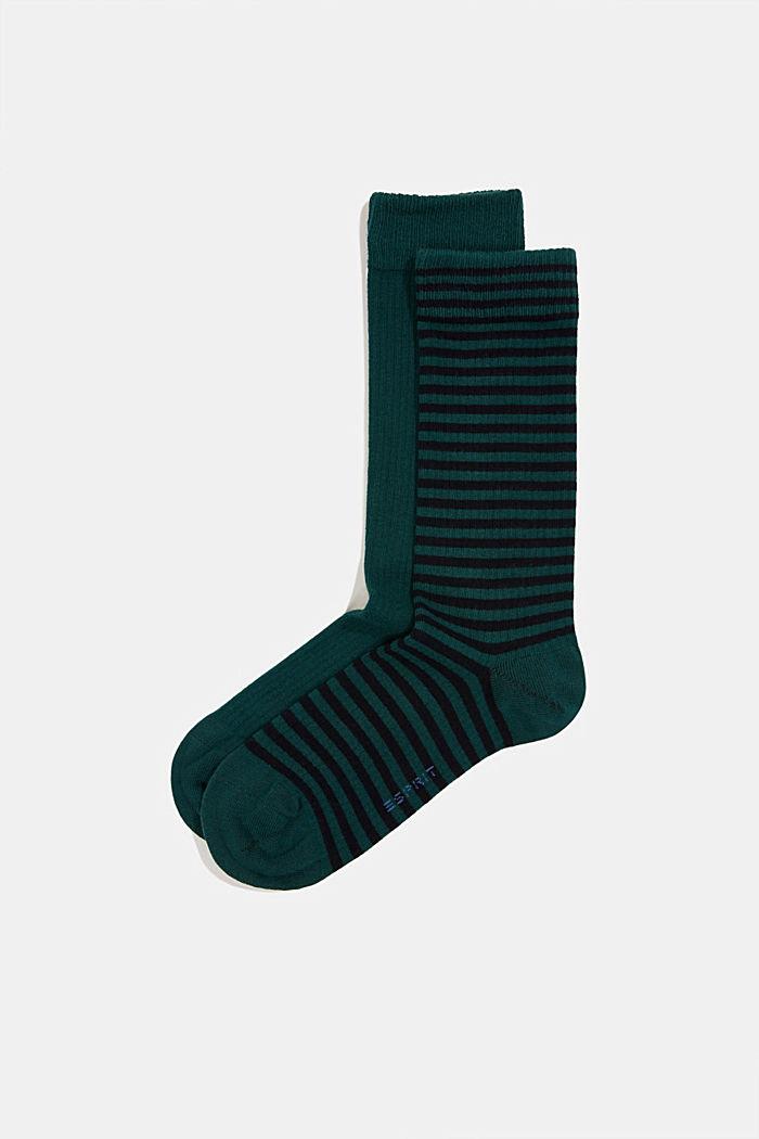 Double pack of blended cotton socks, DARK GREEN, detail image number 0