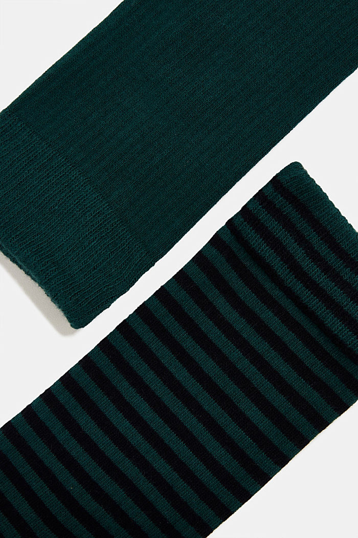 Double pack of blended cotton socks, DARK GREEN, detail image number 1