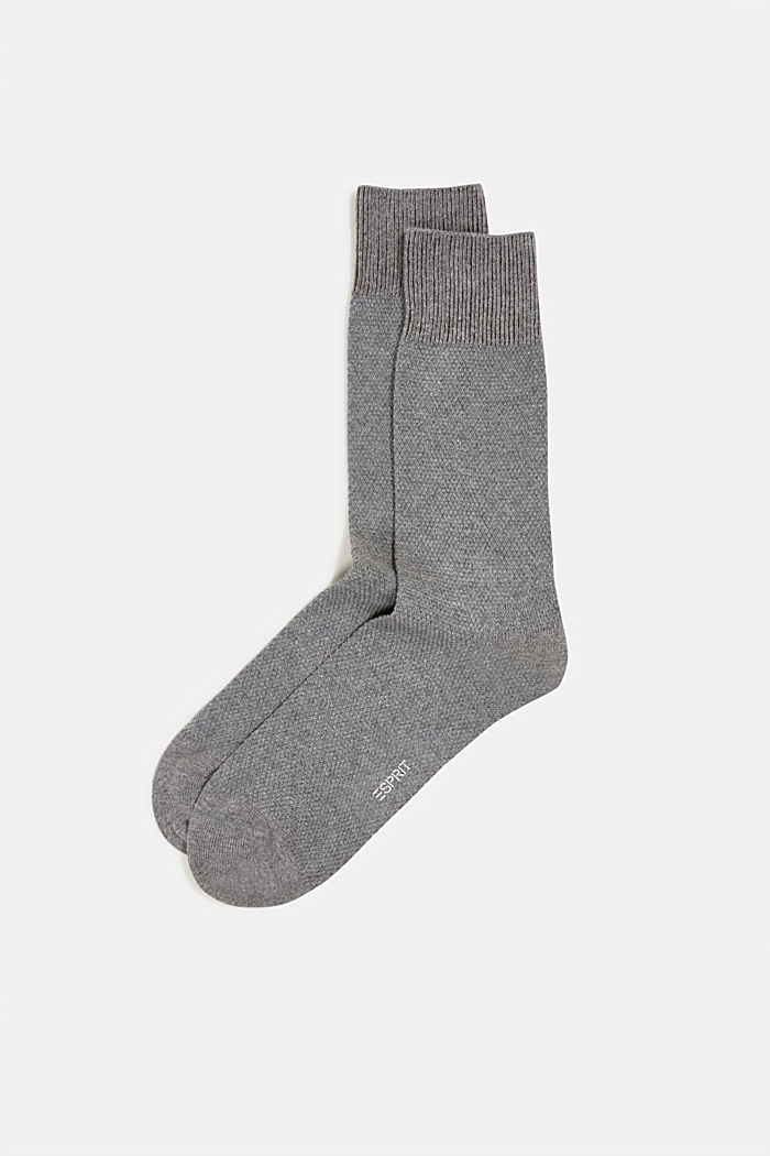 2er Pack Socken aus Baumwoll-Mix, LIGHT GREY MELANGE, detail image number 0