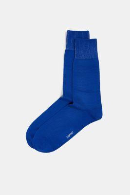Double pack of blended cotton socks, DEEP BLUE, detail