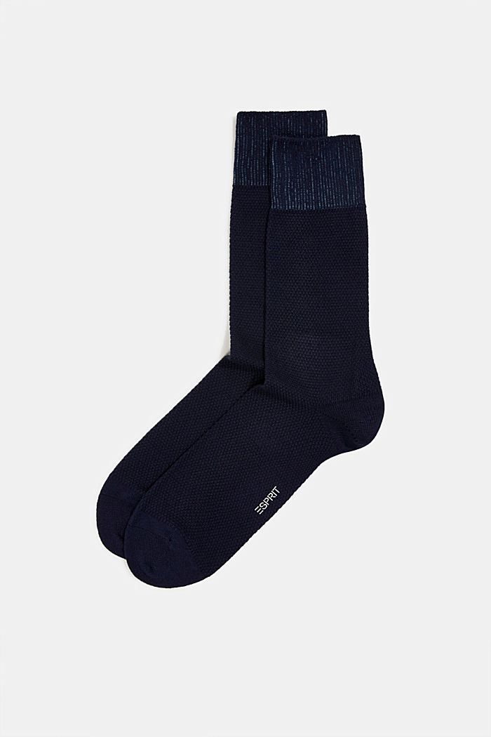 2er Pack Socken aus Baumwoll-Mix, MARINE, detail image number 0