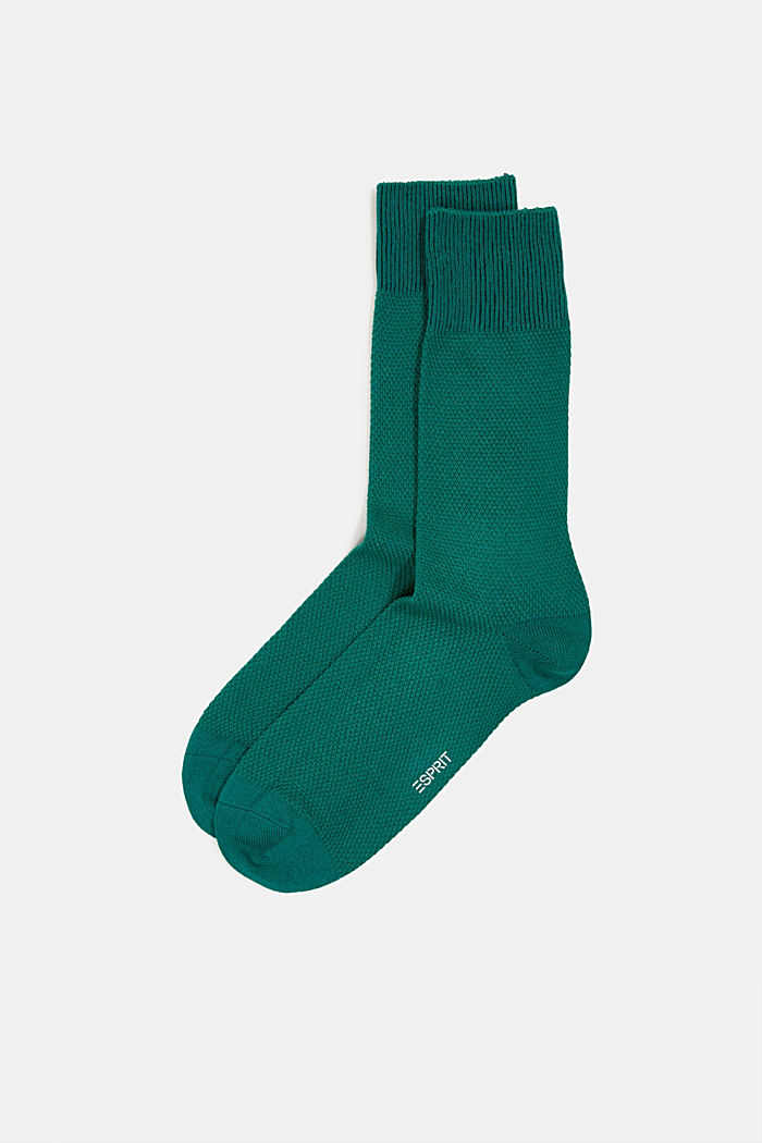 2er Pack Socken aus Baumwoll-Mix, DARK GREEN, detail image number 0