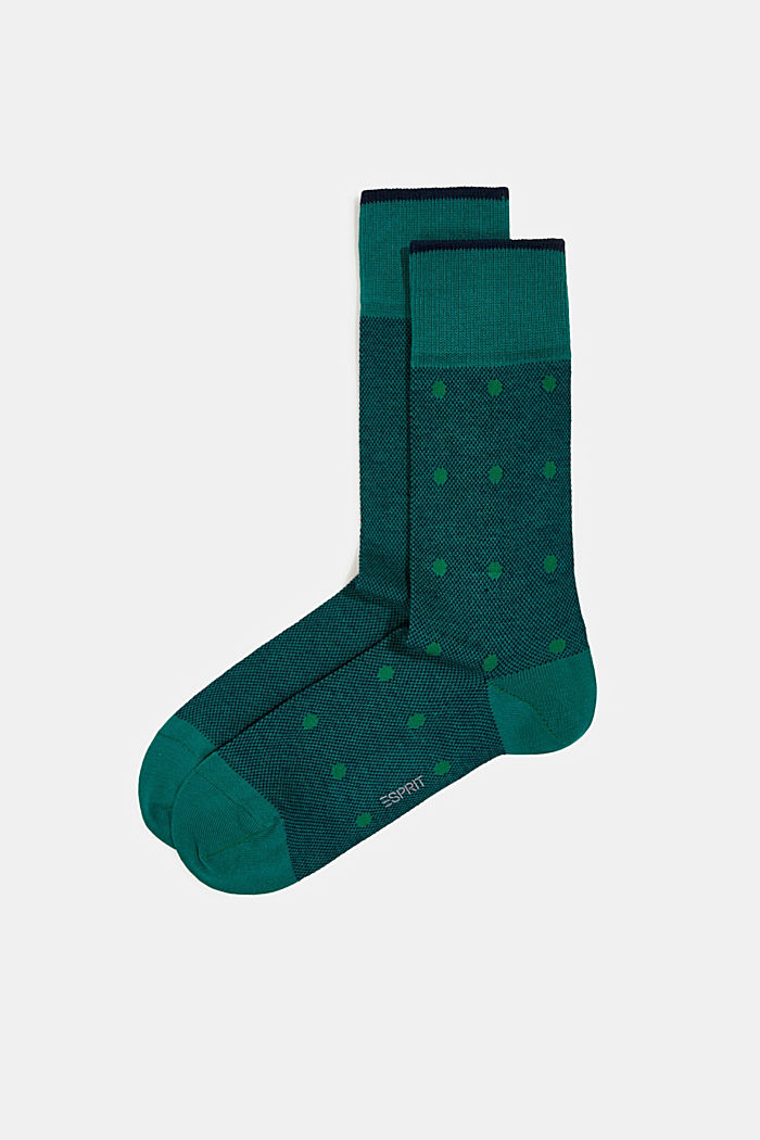 Double pack of blended cotton socks, GREEN, detail image number 0