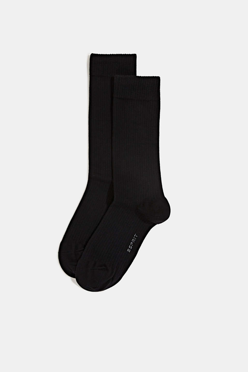 Double pack of socks with a ribbed texture, BLACK, detail image number 0