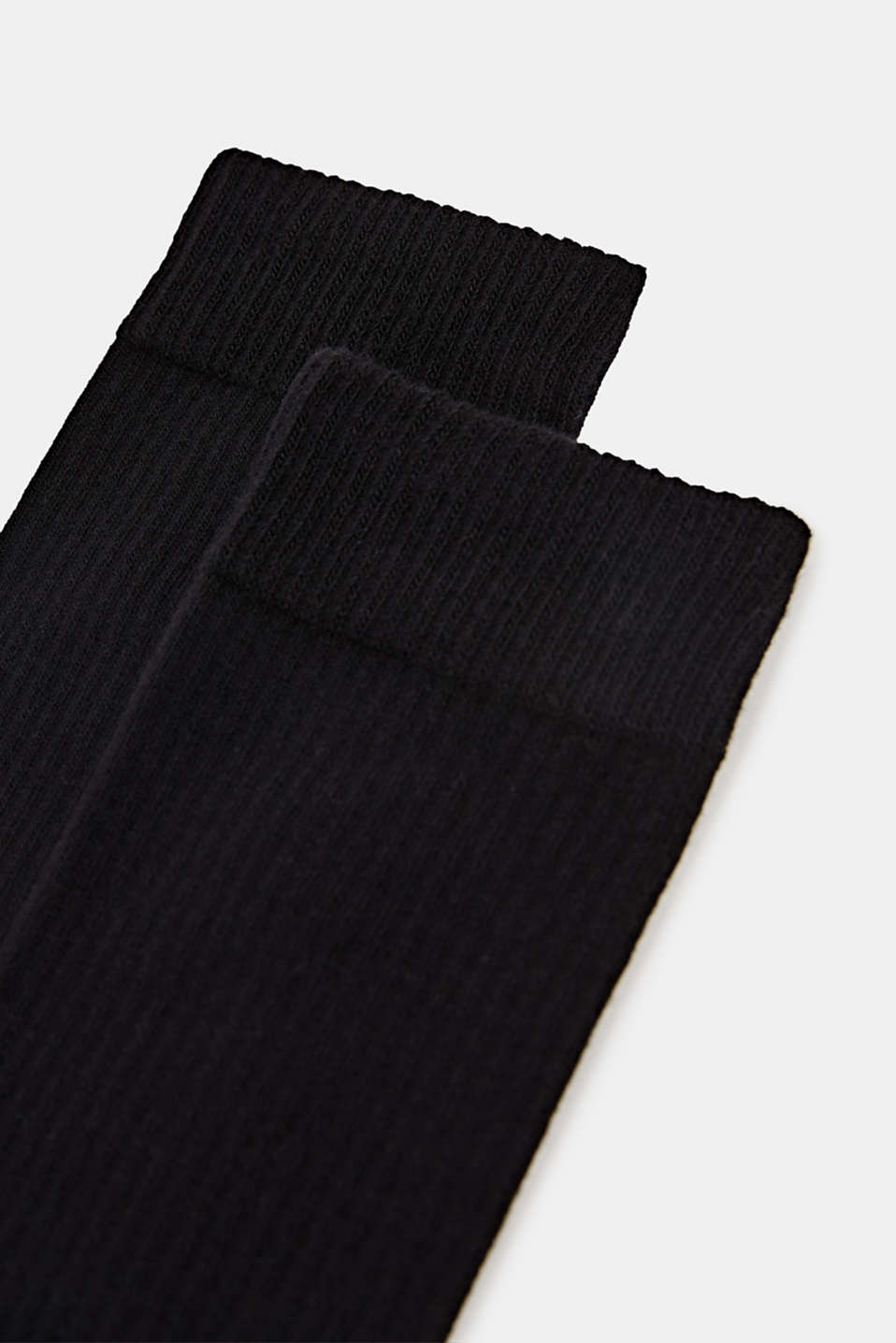 Double pack of socks with a ribbed texture, BLACK, detail image number 1