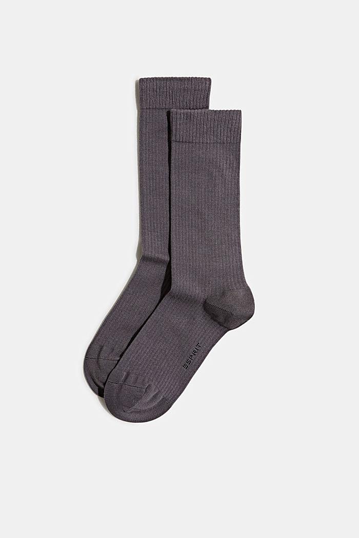 2er-Pack Socken mit Rippen-Struktur, LIGHT GREY MELANGE, detail image number 0