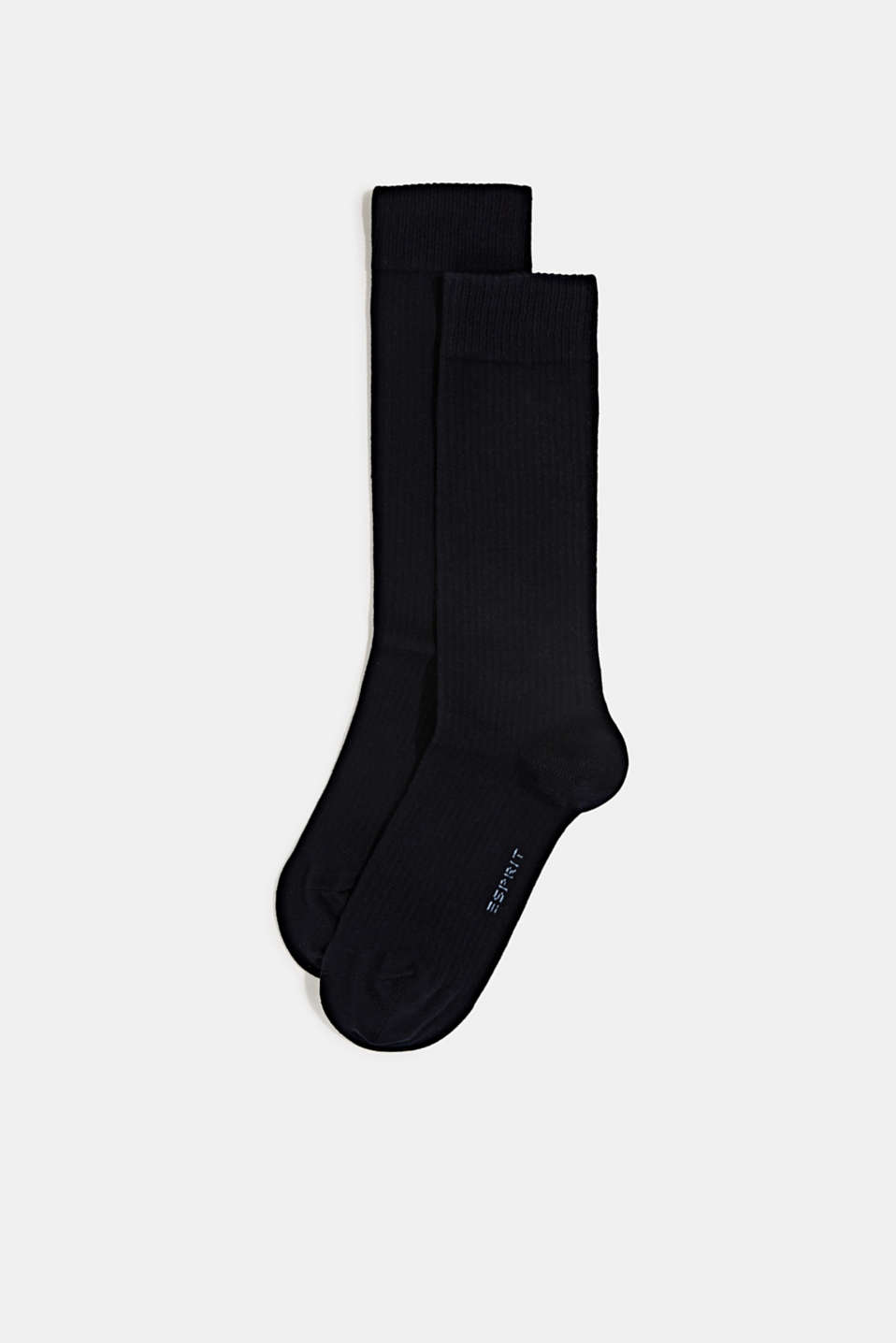 Double pack of socks with a ribbed texture, MARINE, detail image number 0