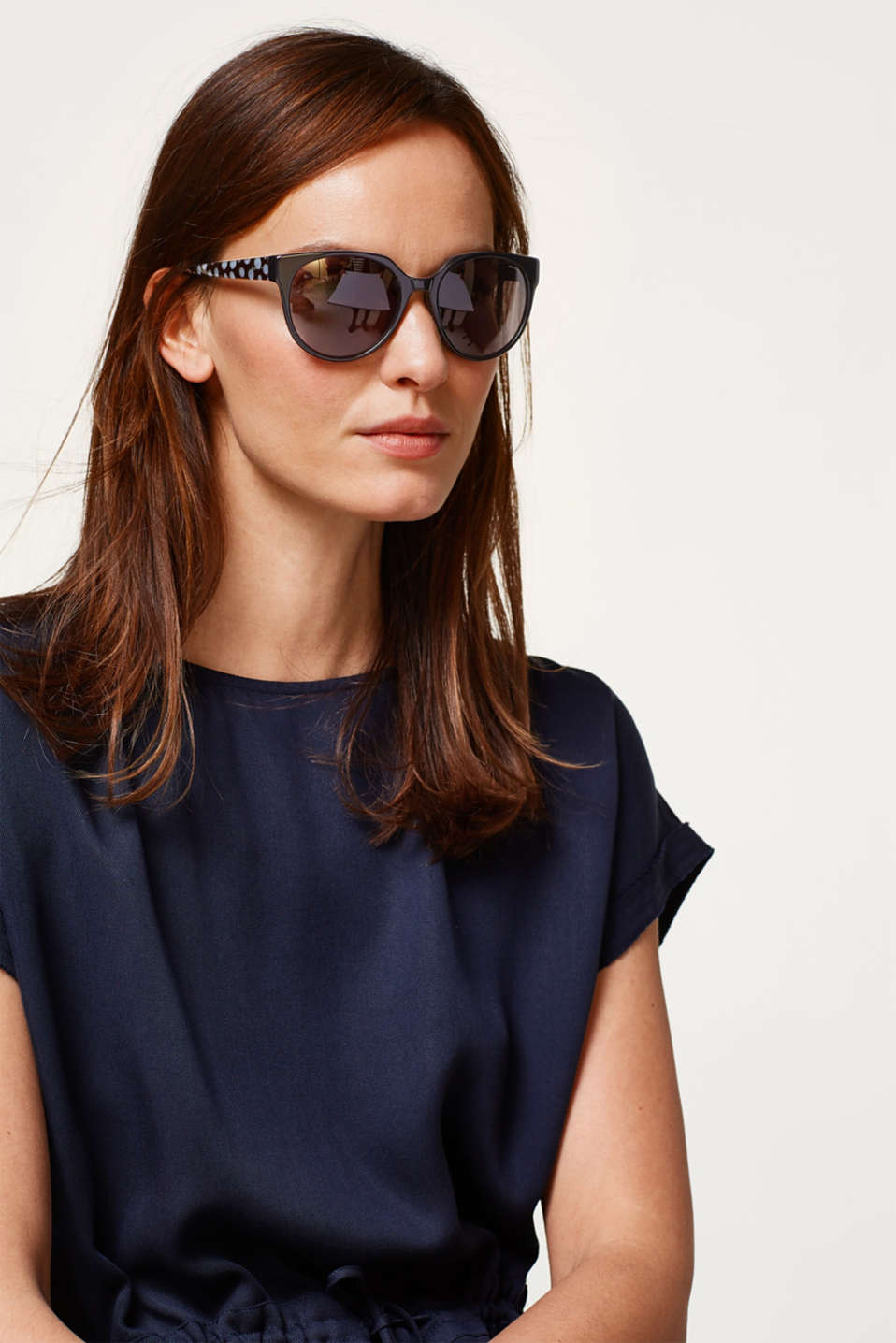 Sunglasses with a polka dot pattern , BLACK, detail image number 2