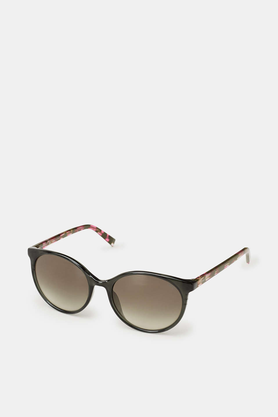 Round sunglasses with marble-effect temples, GREEN, detail image number 0