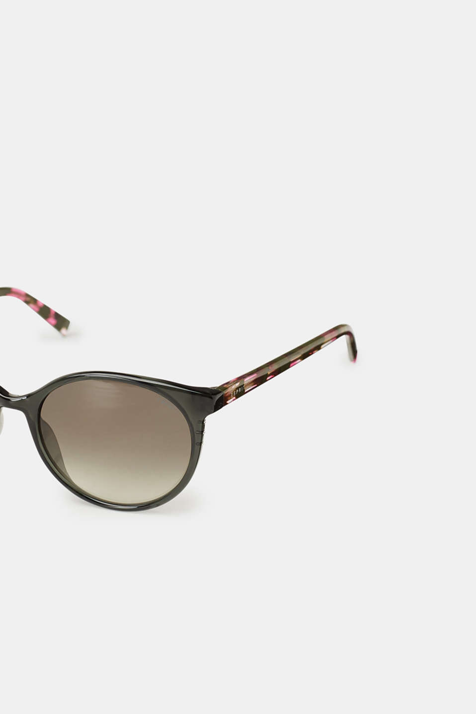 Round sunglasses with marble-effect temples, GREEN, detail image number 1