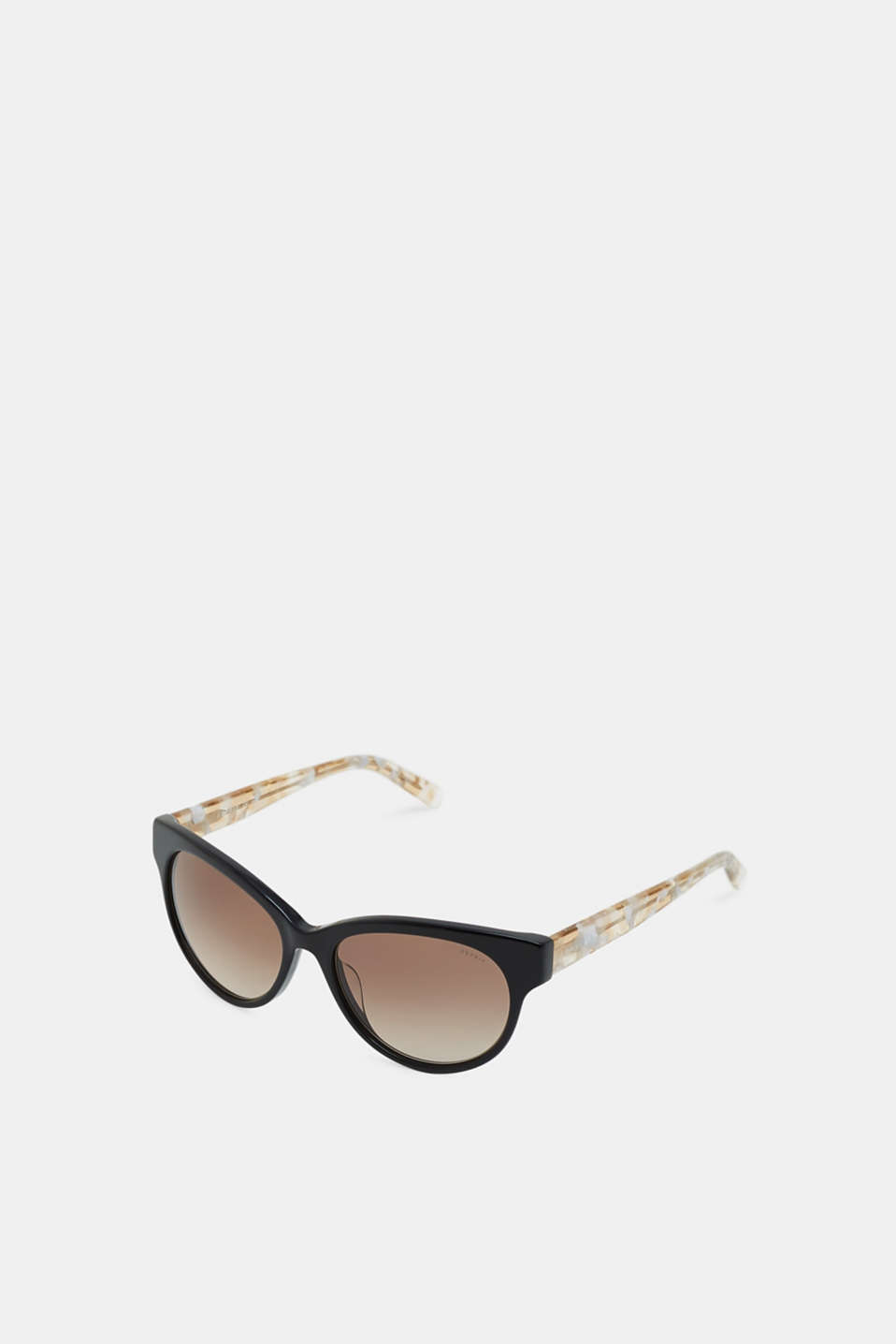 Sunglasses with marble-effect temples, BLACK, detail image number 1