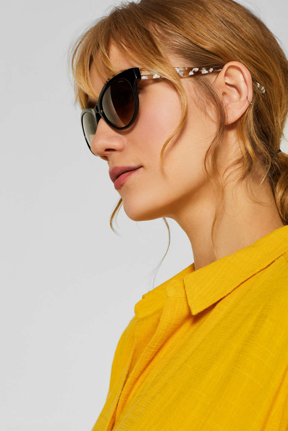 Sunglasses with marble-effect temples, BLACK, detail image number 2