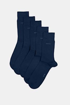 Five pack of blended cotton socks, MARINE, detail